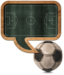 Blackboard with Football Field and Ball / Blackboard with wooden frame in the shape of a speech bubble with a football field and an old soccer ball. Isolated on white background