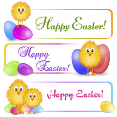 Three colorful horizontal banners with yellow easter chicken and varicolored painted easter eggs isolated on white background. Easter banner, frame design, border frame background