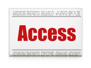 Privacy concept: newspaper headline Access