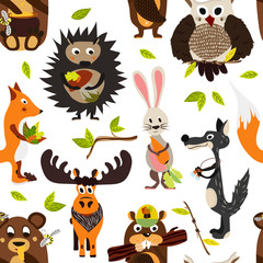 Cute seamless texture wild forest animal design on a white background. Cartoon style. Vector