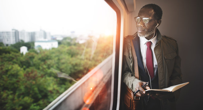 Businessman Travel Passenger African Descent Concept
