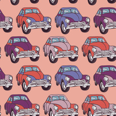 Seamless car pattern. Sketch. Pink, lilac, purple. vector