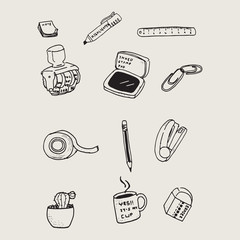 Hand drawn stationary doodles pattern background.