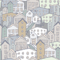 Urban winter landscape seamless pattern. Sketch. Gray, blue. illustration