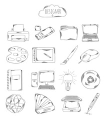 Professional collection of icons and elements. Set designer, computer hand drawn elements doodles isolated on white background. Vector