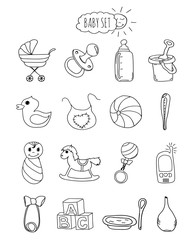 A family-friendly hotel of icons and elements. Set infant items, accessories and toys hand drawn elements, doodles isolated on white background. Vector