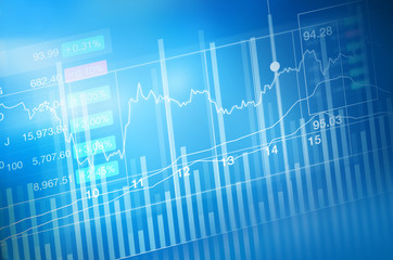 Stock market investment trading, candle stick graph chart, trend