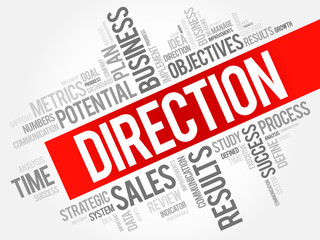 Direction word cloud, business concept background