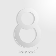 March 8 Women's Day. Number 8 with shadow on a white background