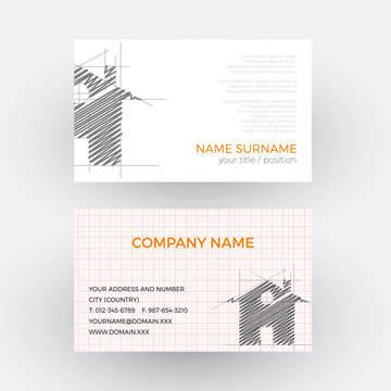 Vector abstract house, concept of builder. Business card