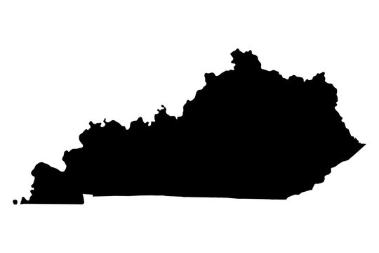 Kentucky black map on white background vector