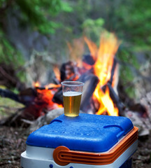 campfire and cum of beer
