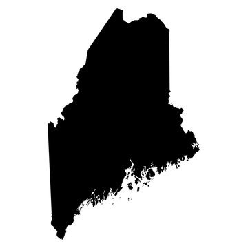 Maine black map on white background vector