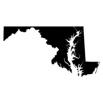 Maryland black map on white background vector
