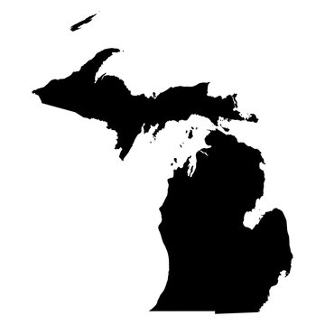 Michigan black map on white background vector