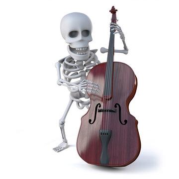 3d Skeleton plays doube bass