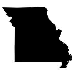 Missouri black map on white background vector