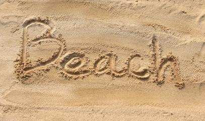 Beach - sand writing on the beach