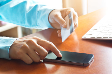 Mobile payments, using smartphone and credit card for  shopping online