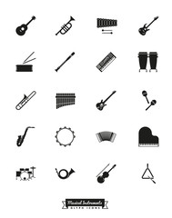 Musical Instruments Solid Black Vector Icon Set