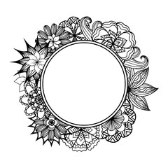Round frame with black and white doodle flowers.
