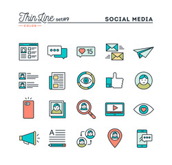 Social media, communication, personal profile, online posting and more, thin line color icons set, vector illustration