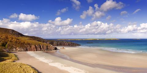Remote beach on a sunny day, northern coast of Scotland