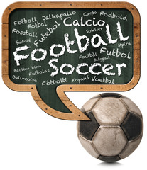 International Football / Blackboard in the shape of a speech bubble with the word Football in many languages of world and an old soccer ball. Isolated on white