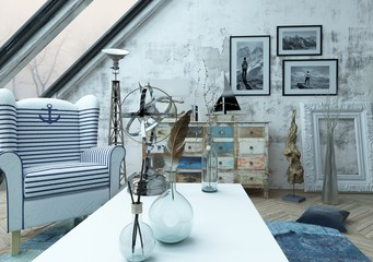 Beautiful hipster loft with large slanted windows