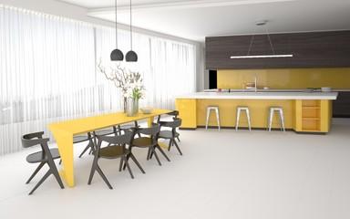 Luxury elegant yellow and grey kitchen interior