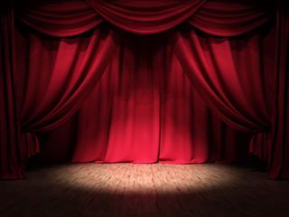 Show Bühne Rote Vorhänge Spotlight