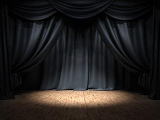 Show Bühne schwarze Vorhänge Spotlight