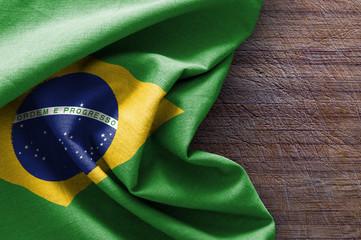 Papiers peints Brésil Flag of Brazil on wood background