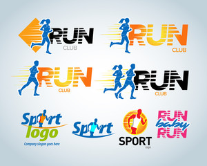 Sport running club vector labels and emblems, logotypes, badges. Apparel, t-shirt design concepts. Athletic silhouette training, athlete run illustration. Isolated vector illustration.