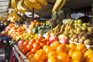 Fresh and organic fruits at a farmers market