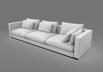 Sofa isolated on gray background