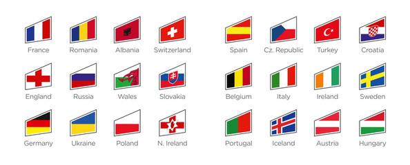 Moderne Flaggen Formen der Euro 2016 Teilnehmer in Frankreich