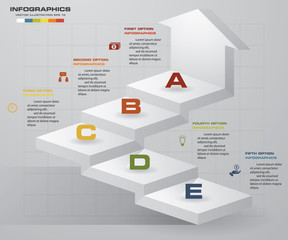 abstract 5 steps business presentation template. Infographics of 5 steps stair with arrow. EPS10.