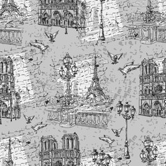 Paris. Vintage seamless pattern 2