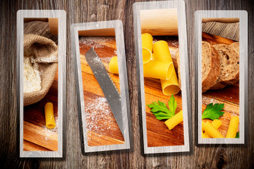 Bread baking set on wooden background