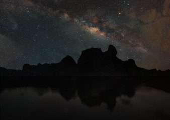 Milky way over the rock mountain