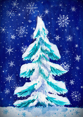christmas fir tree with snow on dark, watercolor painting on paper