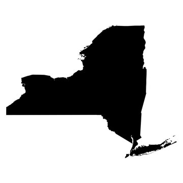 New York black map on white background vector