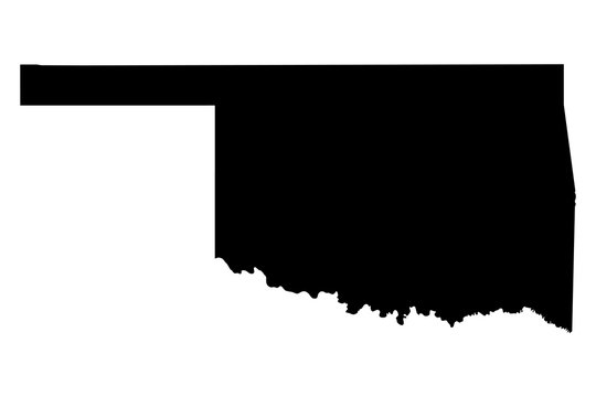 Oklahoma black map on white background vector