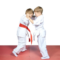 Judo sparring are training young children