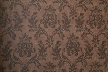 cool vintage floral wallpaper in tan and brown design