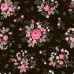 seamless floral pattern with rose bouquet on dark background