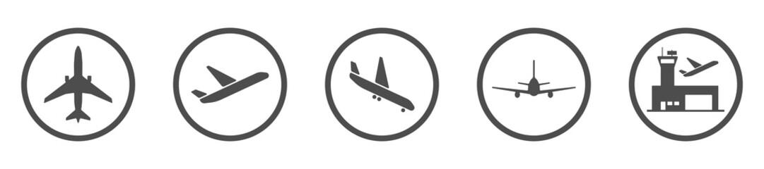 Flughafen - Icon-Set (in Grau)