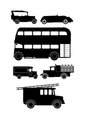 Wall Mural - collection of vintage vehicle silhouettes