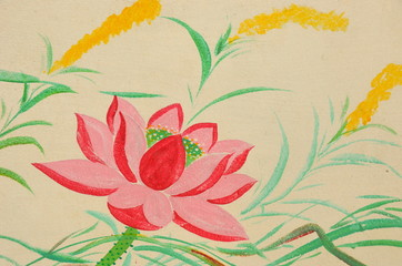 Wall paintings of lotus flower   Thailand